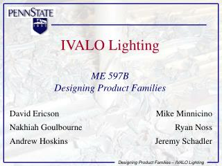 IVALO Lighting  ME 597B Designing Product Families