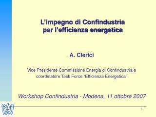 L impegno di Confindustria  per l efficienza energetica