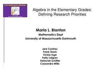Algebra in the Elementary Grades: Defining Research Priorities