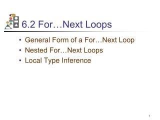 6.2 For Next Loops