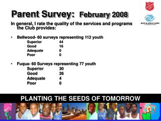 Parent Survey:  February 2008