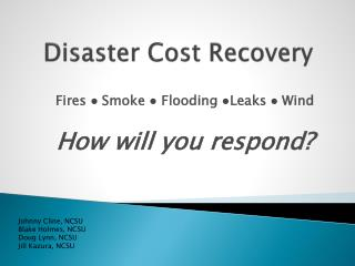 Disaster Cost Recovery