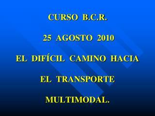 CURSO  B.C.R.  25  AGOSTO  2010   EL  DIF CIL  CAMINO  HACIA  EL  TRANSPORTE  MULTIMODAL.