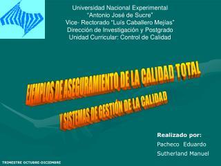 Universidad Nacional Experimental  Antonio Jos  de Sucre  Vice- Rectorado  Lu s Caballero Mej as  Direcci n de Investiga