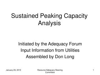 Sustained Peaking Capacity Analysis