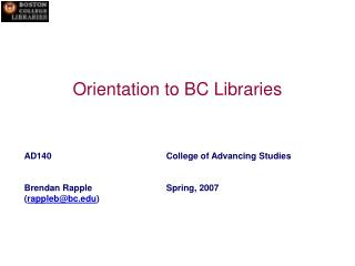 Orientation to BC Libraries