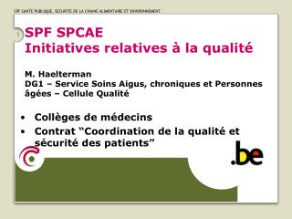 SPF SPCAE Initiatives relatives   la qualit   M. Haelterman DG1   Service Soins Aigus, chroniques et Personnes  g es   C