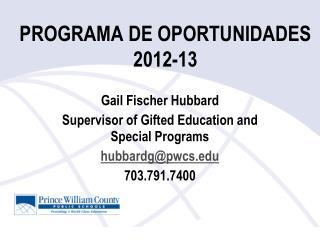 PROGRAMA DE OPORTUNIDADES 2012-13