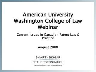 American University Washington College of Law Webinar