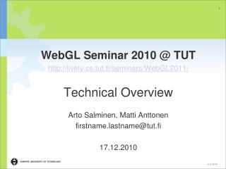 WebGL Seminar 2010  TUT lively.cs.tut.fi