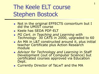 The Keele ELT course Stephen Bostock