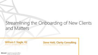 Streamlining the Onboarding of New Clients and Matters