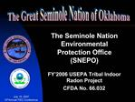 The Seminole Nation Environmental Protection Office SNEPO  FY 2006 USEPA Tribal Indoor Radon Project CFDA No. 66.032
