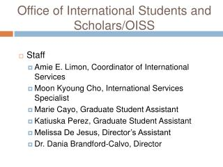 Office of International Students and Scholars