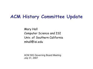 ACM History Committee Update