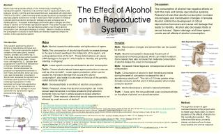 The Effect of Alcohol on the Reproductive System