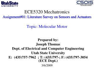 ECE5320 Mechatronics Assignment01: Literature Survey on Sensors and Actuators   Topic: Molecular Motor