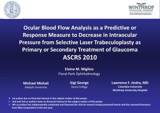 Ocular Blood Flow Analysis as a Predictive or Response Measure to Decrease in Intraocular Pressure from Selective Laser