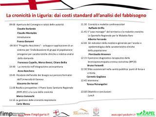 La cronicit  in Liguria: dai costi standard all analisi del fabbisogno