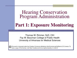 Hearing Conservation  Program Administration  Part 1: Exposure Monitoring
