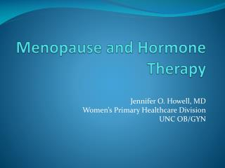 Menopause and Hormone Therapy