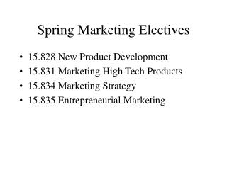Spring Marketing Electives