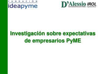 Investigaci n sobre expectativas de empresarios PyME