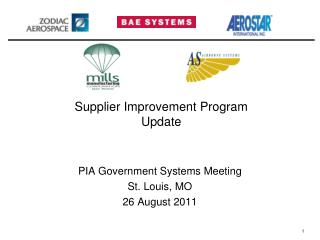 Supplier Improvement Program  Update