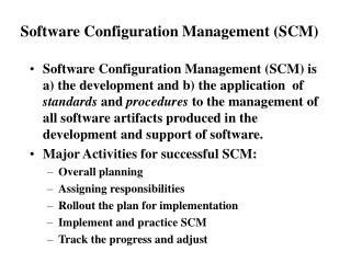 Software Configuration Management Not in textbook