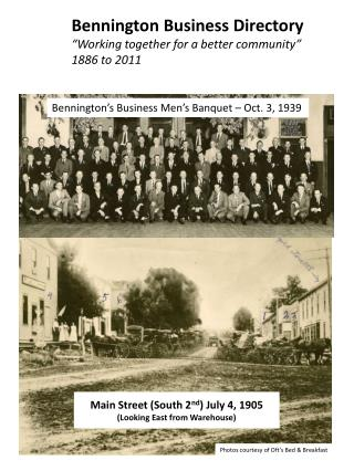 Bennington Business Directory  Working together for a better community  1886 to 2011