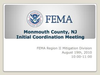 Monmouth County, NJ  Initial Coordination Meeting