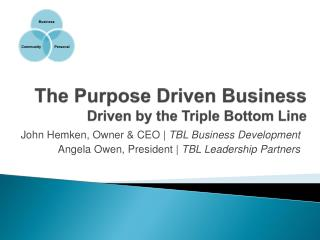 The Purpose Driven Business Driven by the Triple Bottom Line