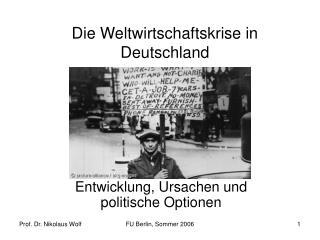 Die Weltwirtschaftskrise in Deutschland