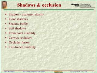 Shadows  occlusion