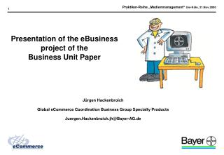 Presentation of the eBusiness project of the Business Unit Paper