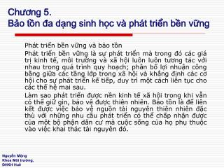 Chuong 5. Bo tn da dng sinh hc v  ph t trin bn vng