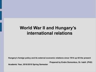 External Economic Relations