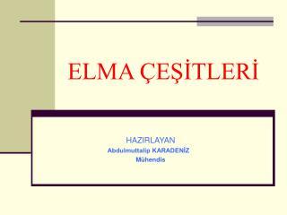 ELMA  ESITLERI