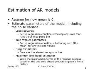 Estimation of AR models