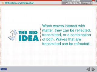 When waves interact with matter, they can be reflected, transmitted, or a combination of both. Waves that are transmitte