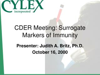 CDER Meeting: Surrogate Markers of Immunity