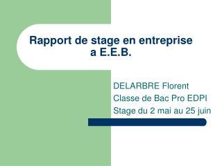 Rapport de stage en entreprise a E.E.B.