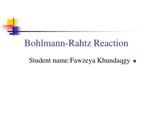 Bohlmann-Rahtz Reaction