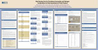 Risk Ranking Tool for Prioritizing Commodity and Pathogen Combinations for Risk Assessment of Fresh Produce