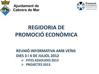 REGIDORIA DE  PROMOCI  ECON MICA