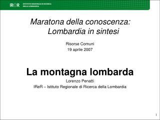Maratona della conoscenza: Lombardia in sintesi  Risorse Comuni 19 aprile 2007   La montagna lombarda Lorenzo Penatti IR