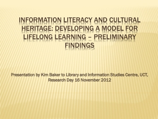 Literacy Outcomes and Performance Indicators
