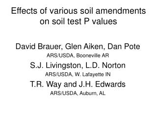 Effects of various soil amendments on soil test P values