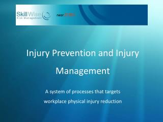 Injury Prevention and Injury Management   A system of processes that targets  workplace physical injury reduction
