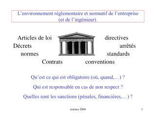 L environnement r glementaire et normatif de l entreprise  et de l ing nieur.